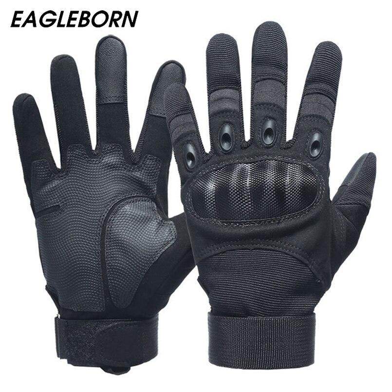 Military Men Black Gloves Carbon Fiber Force Simulation Training Outdoor Tactical Gloves Men Full Finger Combat Military Gloves