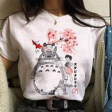 2021 Studio Ghibli Унесенные призраками Хаяо миядзяки; Kawaii Футболка с принтом Футболка для женщин Harajuku эстетику женская футболка белый топ с рисунк...