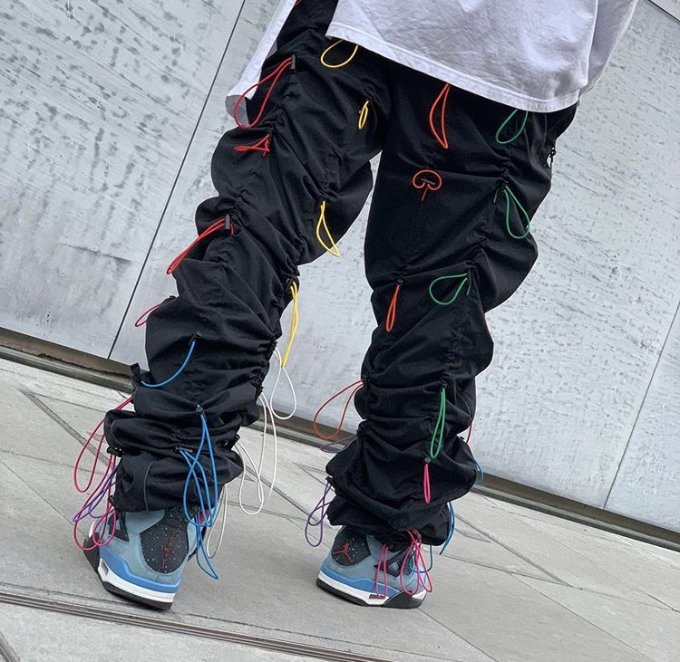 Rainbow Rope Trousers Man Fashion Heap Hip Hop Yuppie Designer Jogger Pants Cool Chic Fashion Stovepipe Rompers Bib Overalls Boy