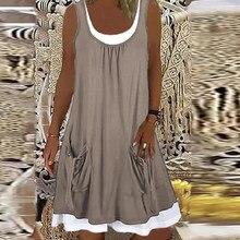 Bolso do vintage sem mangas vestido de verão feminino casual gola quadrada solto vestido de festa elegante senhora plus size a line vestido