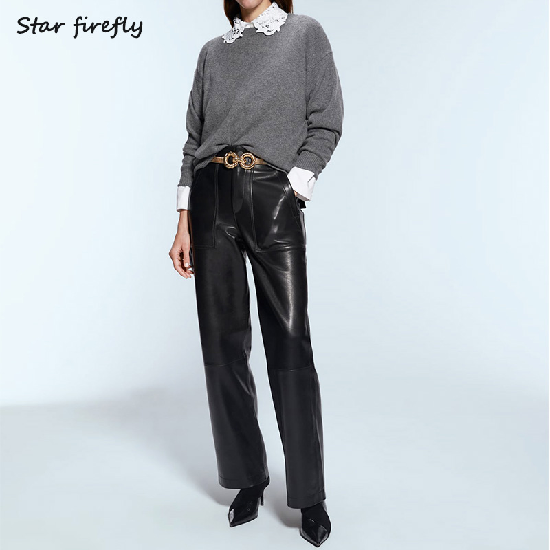 Star Firefly Fashion Za Leather Pants Women 2019 Autumn Casual Solid Color Loose High Waist Imitation Leather PU Straight Pants