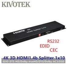 10 יציאות HDMI ספליטר, 4K 3D EDID מגבר פיצול 1 Hdmi כדי עשרה מציג, נקבה מחברים עבור HDTV תצוגת משלוח חינם