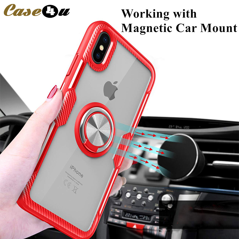 Luxury Finger Ring Magnetic Suction Phone Cases For iPhone XS Max XR X 10 8 7 6 6s Plus 8Plus 7Plus Tempered Glass Cover coque(China)