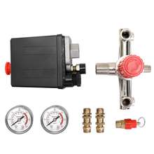 Small Air Compressor Pressure Valve Switch  Control Adjustable Manifold Relief Regulator Gauges 125 PSI 12 Bar 230V 16A
