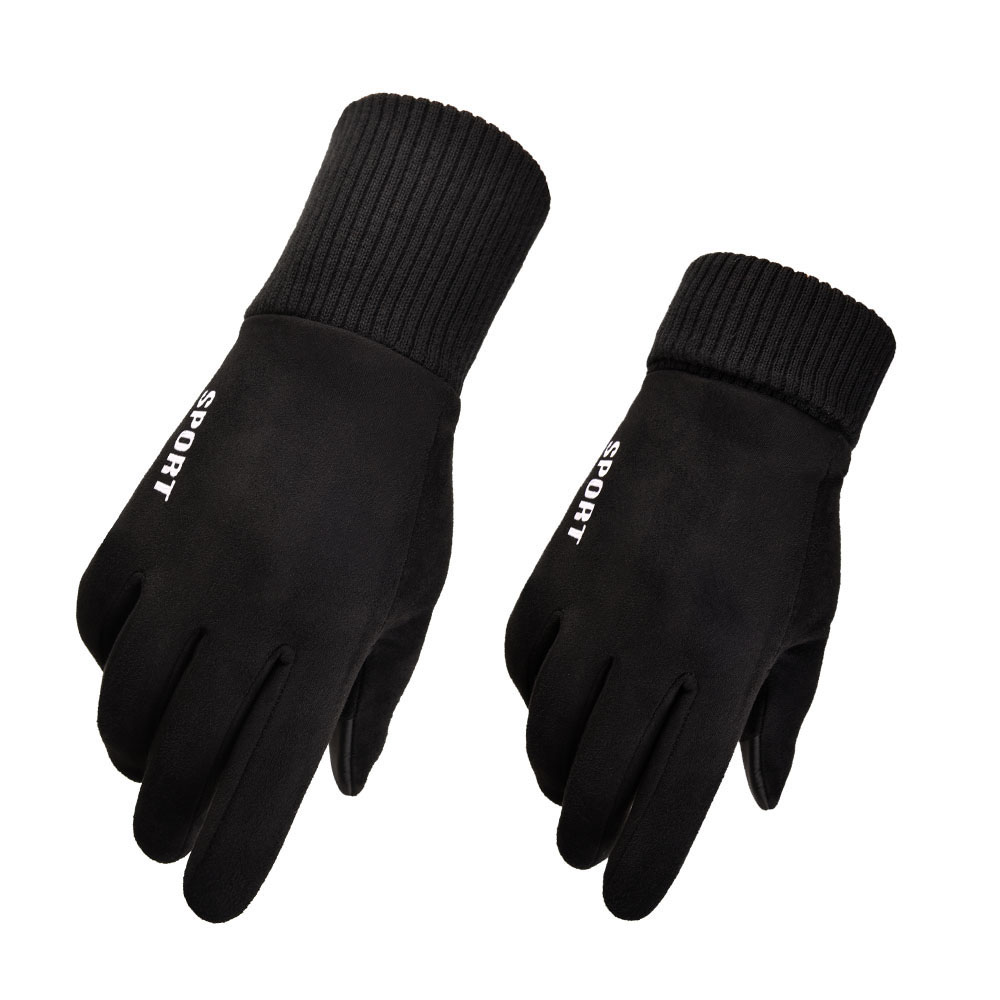 2019 New Layer Suede Men's Thick Warm Gloves Gray Winter Gloves