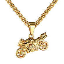 Hip Hop Golden Motorcycle Pendants Necklaces  Iced Out Bling Crafts Jewelry Chains Men Women Motor Racing Team Chokers