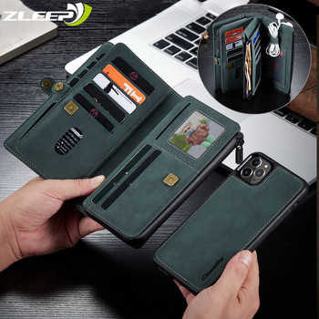 Luxury Zipper Magnet Wallet Pouch Case For iPhone 12 Mini SE 2020 7 8 11 Pro XS Max X XR Flip Leather Card Removable Phone Cover 1