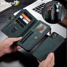 جراب محفظة مغناطيسي مع سحاب لهاتف iPhone ، حافظة جلدية قابلة للإزالة مع رفرف لهاتف iPhone 12 Mini SE 2020 7 8 11 Pro XS Max X XR