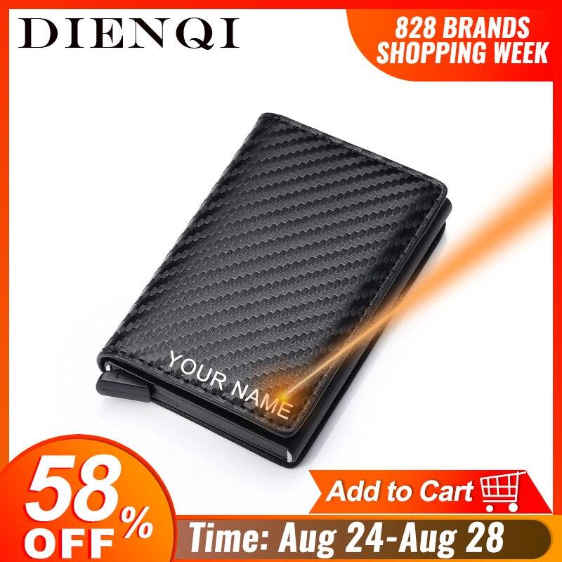DIENQI Carbon Fiber Card Holder Wallets Men Brand Rfid Black Magic Trifold Leather Slim Mini Wallet Small Money Bag Male Purses(China)