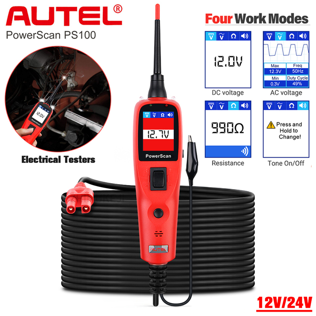 Autel PowerScan PS100 חשמל מערכת 12V/24V אבחון מעגל Tester כלי חשמל בודקי מוביל
