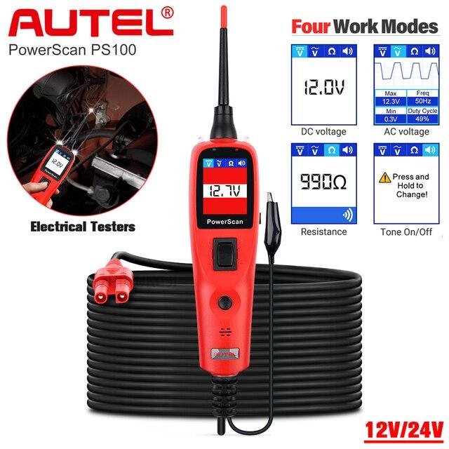 Tester per circuiti elettrici automobilistici Autel PowerScan PS100, PS100 12V 24V sonda di potenza strumento diagnostico BMS ricerca corta aperta