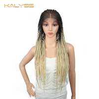 Kalyss 34 inches 13x6 Front Lace Wig Braid Wig for Black Women Synthetic Wigs with Baby Hair Lightweight Cornrow Wig Ombre Brown