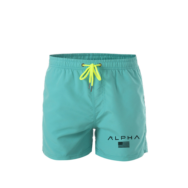ALPHA Men's Swim Shorts Swimwear Trunks Men Beach Shorts Mens Swimming Short Swimsuits Mens Running Sports Surffing Shorts