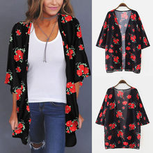 Sommer Frauen Chiffon Floral Kimono Strand Strickjacke Weibliche Sheer Cover Up Bademode Bluse Shirts Weibliche Tops Tunika Shirt # T1G(China)