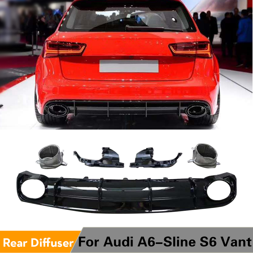 PP Car Rear Bumper Diffuser Lip Spoiler for Audi A6 S-line S6 Hatchback Avant Touring 2015 - 2018 Bumper Guard Not for RS6 image