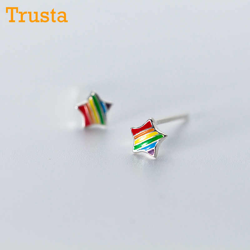 Trusta 100% 925 Sterling Silver Earring Fashion Tiny Rainbow Glaze Star Triangle Stud Earrings Gift for School Girls Kids DS290