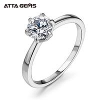 ATTAGEMS 1ct 2ct 3ct Moissanite Ring Round Brilliant Cut Diamond Test Passed Moissanite Diamond Solitaire Rings for Women 1
