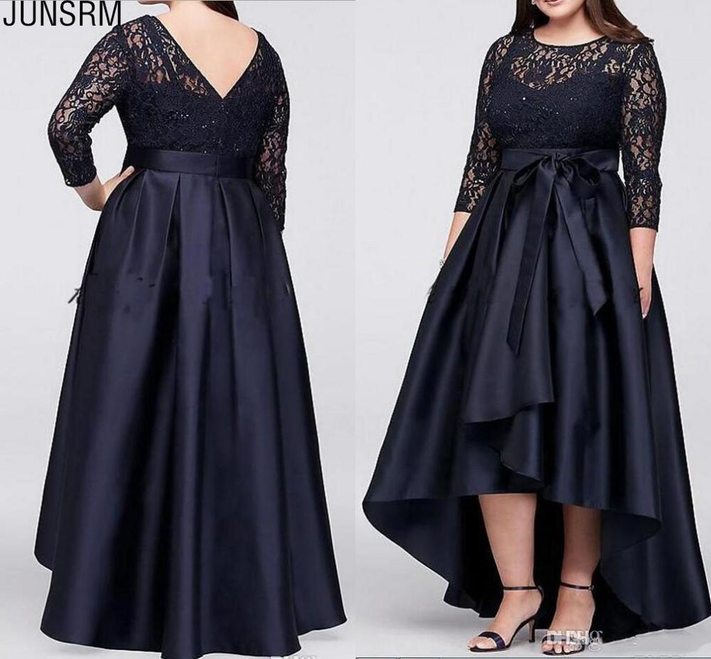 Plus Size Mother Of The Bride Dress High Low Three Quarter Sleeve Lace Satin Bow Sash Women Formal Wedding Guest Gowns