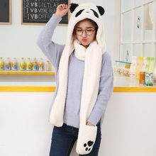 Stilvolle Bar 2019 NEUE Frauen Faux Pelz Panda Form Beanie Warme Winter Warme Handschuhe Halten Tasche Casual Warme Hip Hop caps Slouch Hut(China)