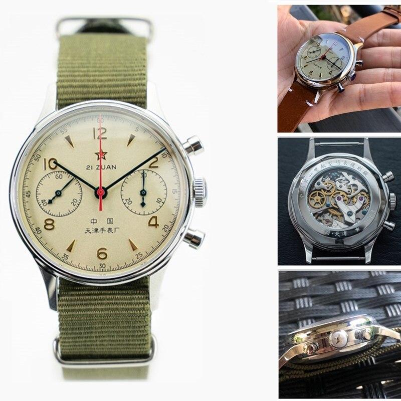 Men Chronograph Watches 1963 Acrylic / Sapphire Glass Dial ST19 Hand Wind Seagull Movement Pilot Mens Mechanical Wrist Watch