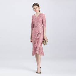 Europe and the United States high-end large size mother with big temperament slim hip tail sleeve flower dress
