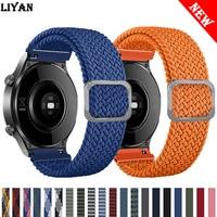 Cinturino per orologio 20mm/22mm per Samsung Galaxy watch 3/active 2/46mm/42mm/Gear S3 regolabile intrecciato Solo Loop Huawei GT/2/2e/Pro band