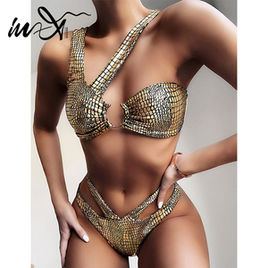 In-X Sexy golden bikinis 2020 mujer Shiny swimsuit female Snake bikini set irregular swimwear women bathing suit Swimming suit(China)