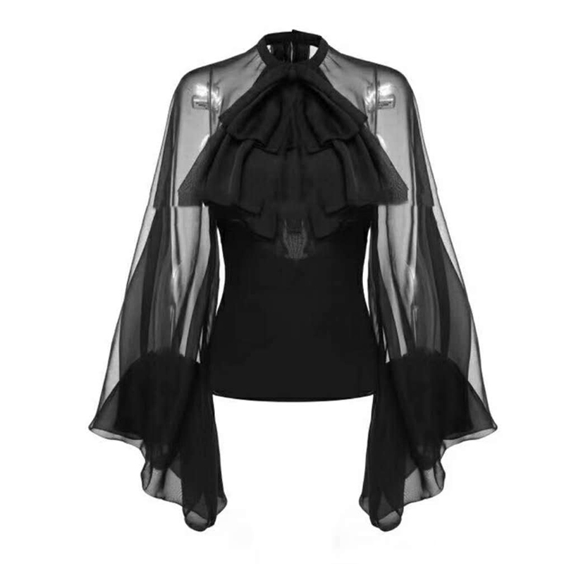 TWOTWINSTYLE-Bowknot-Chiffon-Blouse-Shirt-Women-Lantern-Sleeve-Tulle-Transparent-Sexy-Tops-Large-Size-2019-Spring