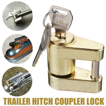 Golden Yellow Trailer Hitch Coupler Lock, Dia 1/4 Inch, 3/4 Inch Span for Tow Boat RV Truck Cars Coupler