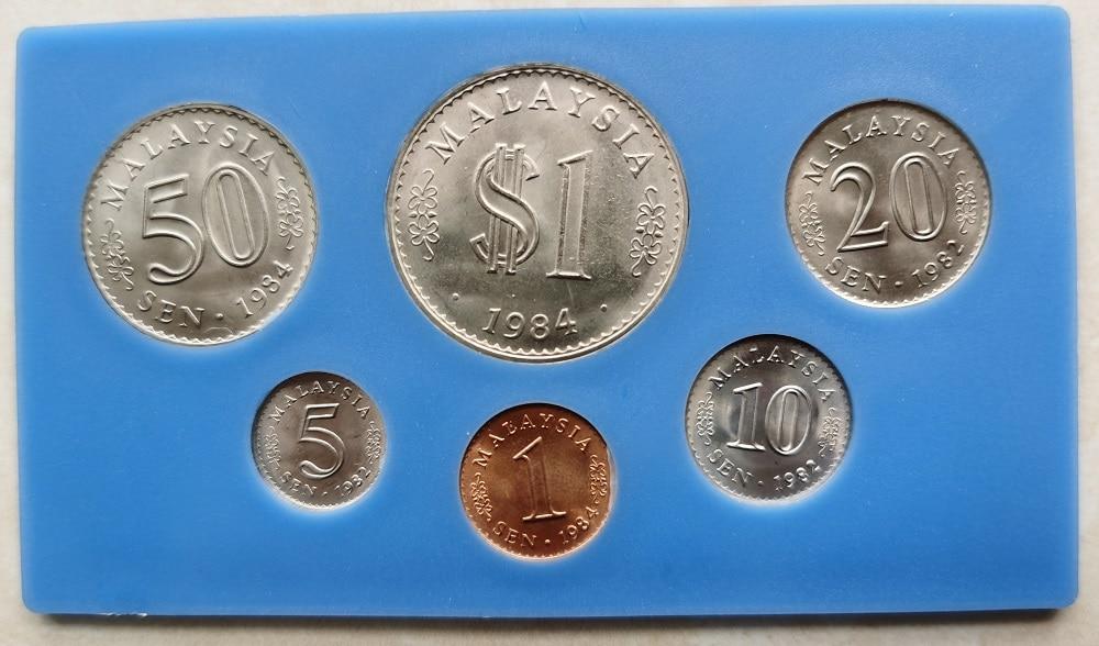 Malásia 1982-1984 1-50 centavos-1 ringgit conjunto completo 6 peças moedas genuínas moeda original real