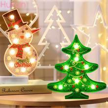 Huiran Merry Christmas Diamond Painting LED Lights Snowman Santa Claus Decorations For Home Cristmas acrylic keychain