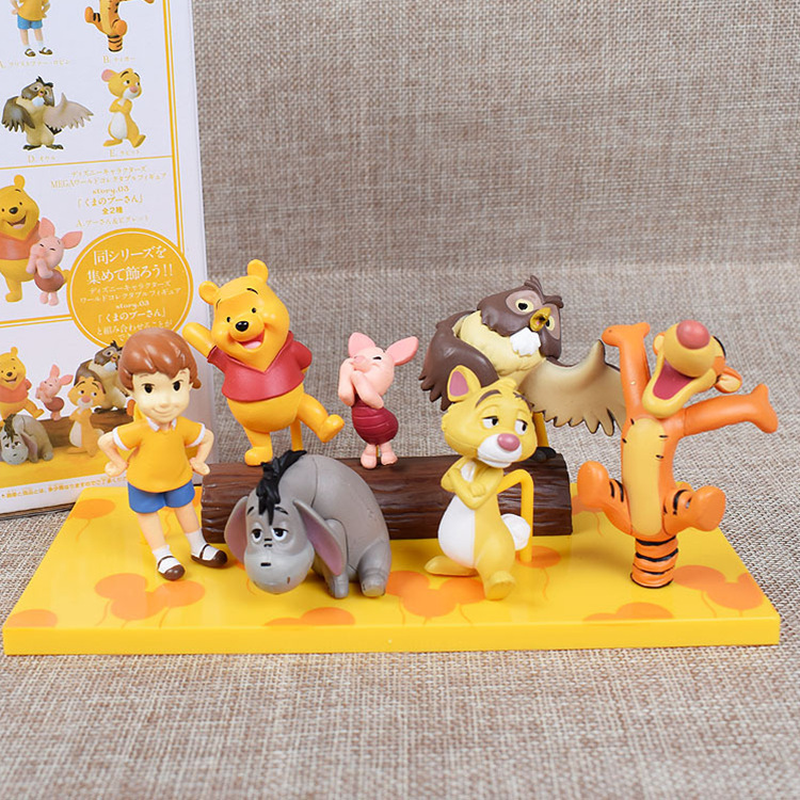 7pcs/set Disney Anime Figura Winnie The Pooh Tigger Jouet Doll PVC Action Figures Collect Model Toy For Kids 3.5-6.5cm