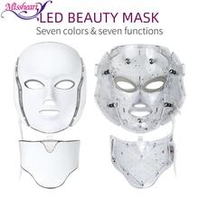 מסקרה LED פנים מסכת 7 צבעים אור התחדשות עור טיפול פנים טיפול יופי אנטי אקנה טיפול הלבנת