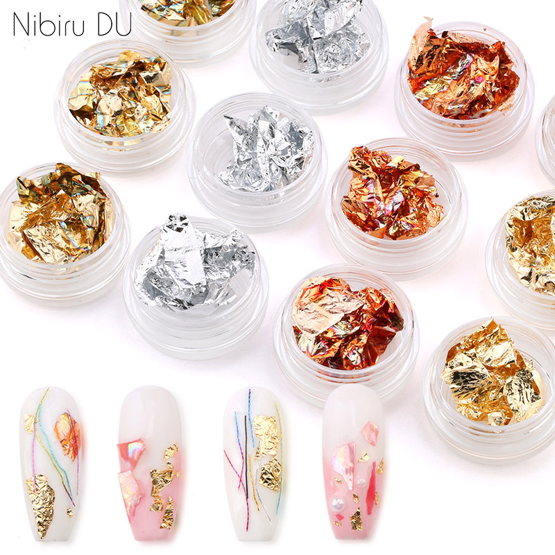 12 Boxes/Set Gold Silver Glitter Aluminum Foils Paper Nail Art Sticker 3D Manicure UV Gel Polish Nail Decoration Tools