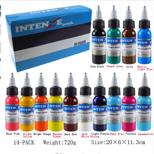 New Permanent 14 Color Tattoo Ink 1oz / Bottle Tattoo Ink Set
