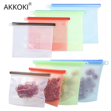Reusable Silicone Bag Sealing Food Storage Saran Wrap ziplock Vacuum Covers Freezer Bags Kitchen Refrigerator Packing Organizer