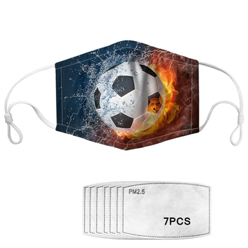 Fire and Ice Football/soccer Print Kids Face Mask with 7pcs Filter PM2.5 Reusable Breathable Children washable Mask Dustproof