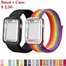 Ремешок для часов для apple Watch полосы спортивный бесшовный correa apple watch 4 3 наручных часов iwatch, ремешок 38 мм 42-44/40 мм нейлоновый браслет+ чехол для часов