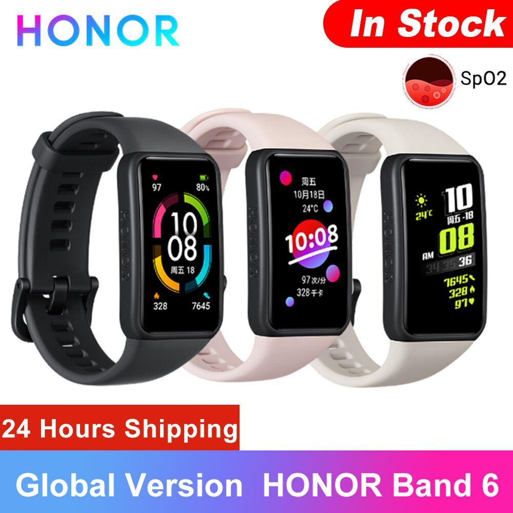 Оригинальный Honor Band 6 глобальная Версия смарт-браслет Водонепроницаемый Bluetooth фитнес сна сердечного ритма в режиме реального музыка Смарт-ч...