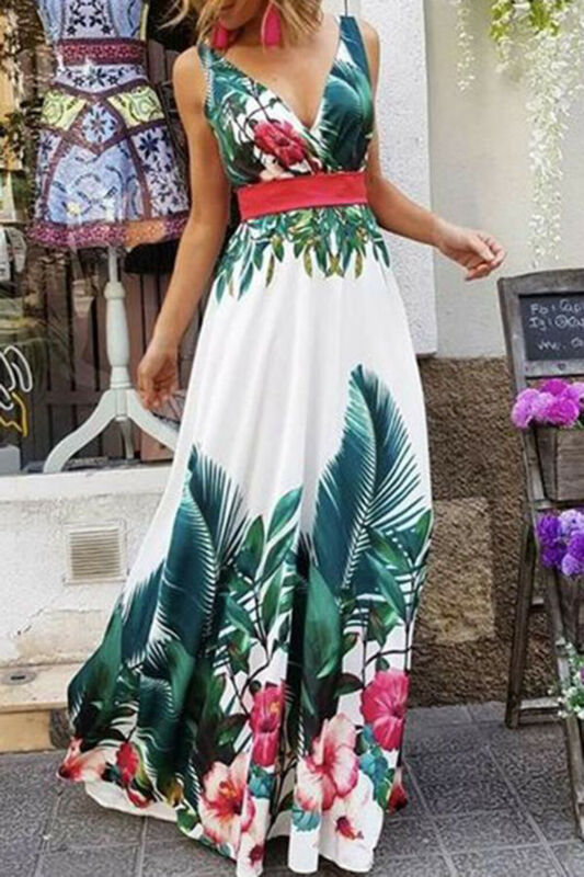 Summer Dress 2019 Women Ever-Pretty Long Deep V-neck Maxi Dresses Party Prom Evening Gown Christmas Dress Girls