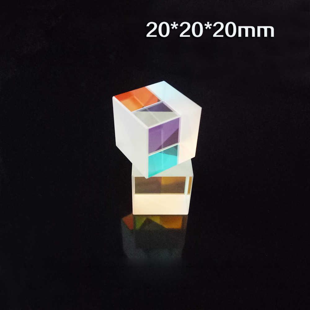 1 шт. 20*20*20 мм 4 стороны Цветовая Призма K9 Оптический куб сплиттер для фотографии Радуга стекло дети физика экспериментальные инструменты