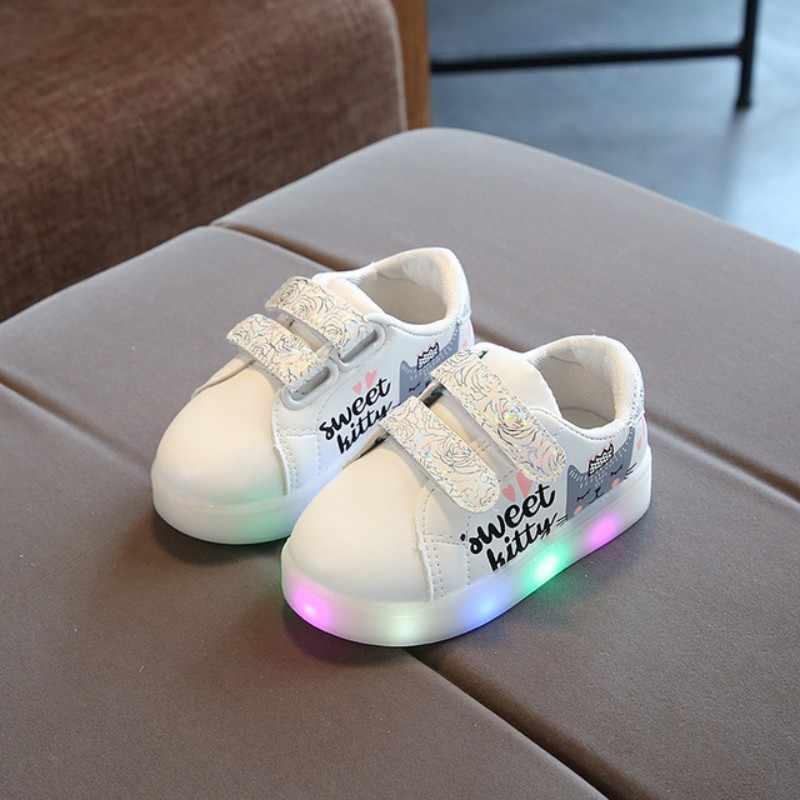 สีขาวหวาน kitty รองเท้า LED รองเท้าเด็กเด็กรองเท้าเด็ก LED Light Up รองเท้าผ้าใบ Chaussures Enfant
