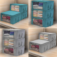 Folding Storage Box Clothes Collection Box Non-Woven With Zipper Moisture-Proof Toy Quilt Storage Box 05 2 004 folding double open visual storage box for clothes grey