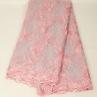 Beautiful 2020 Latest Lace Fabric African Peach Lace Fabric High Quality Tulle Lace Swiss French Lace for Wedding Party