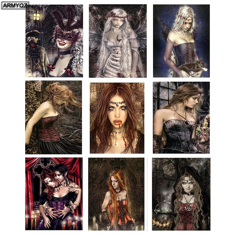 ARMYQZ Diy Diamond Painting Full Square Drill 5D Nightmare Before Christmas Vampires Home Decor Wall Art Embroidery Cross Stitc image
