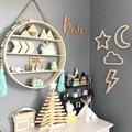 Estilo nórdico moderno ornamentos de madeira lua coelho nuvens adesivo parede do quarto das crianças decorar fotografia adereços artesanato presente