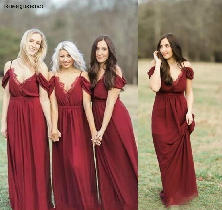 2019 High Quality Bohemian Dark Red Bridesmaid Dress Garden Country Formal Wedding Party Guest Maid Of Honor Gown Plus Size