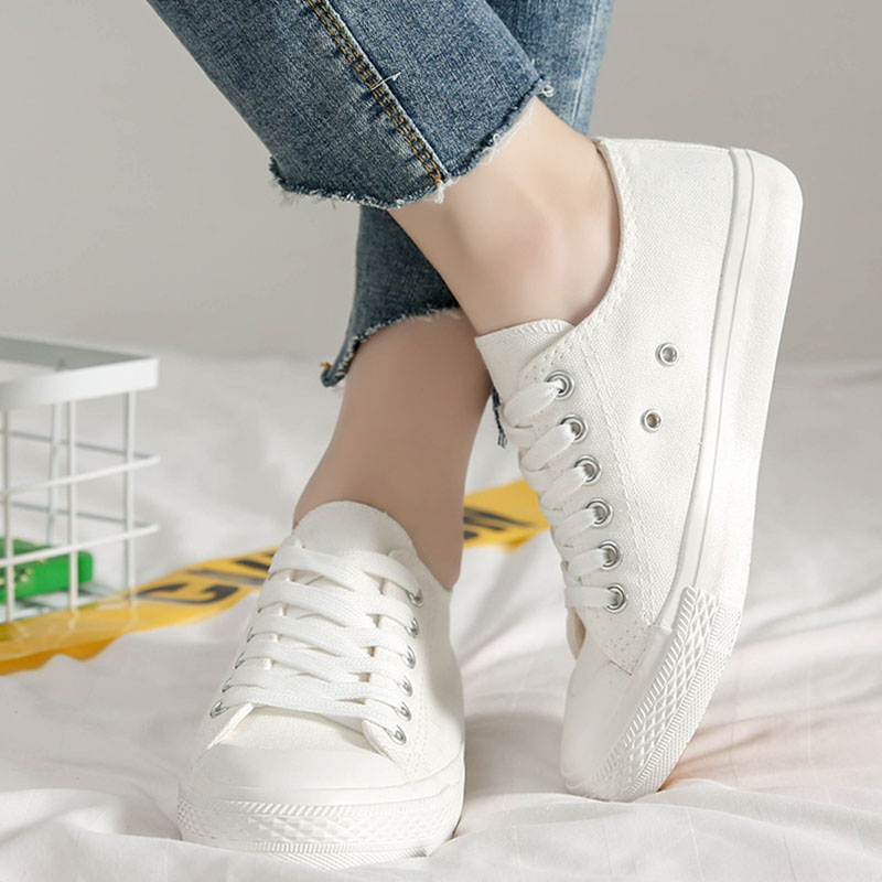 Canvas Shoes For Women White Sneakers Female Casual Vulcanized Shoes Ladies Flat Shoes Rubber Footwear Trainers Zapatillas Mujer