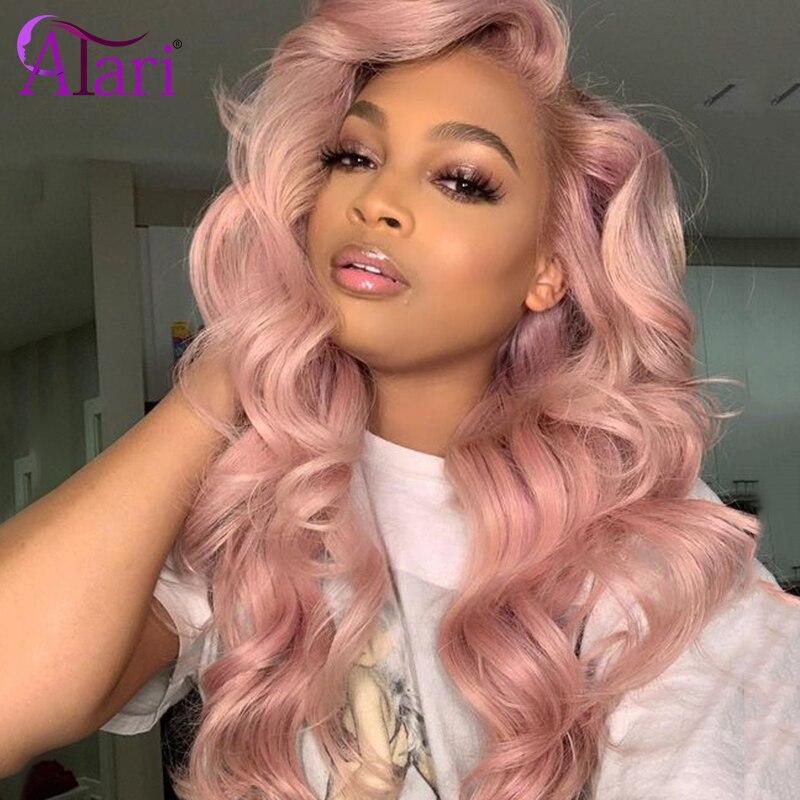 Peruca cor-de-rosa onda do corpo peruca dianteira do laço perucas peruanas transparentes 100% perucas do cabelo humano do virgin para as mulheres negras 180 densidade peruca do laço