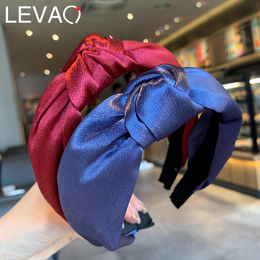Levao Women Satin Knotted Headband Solid Color Hair Bands Or Girls Hair Accessories Casual Colorful Cross Knot Twist Hairband